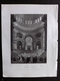 London Interiors 1841 Antique Print. St. Paul's Cathedral